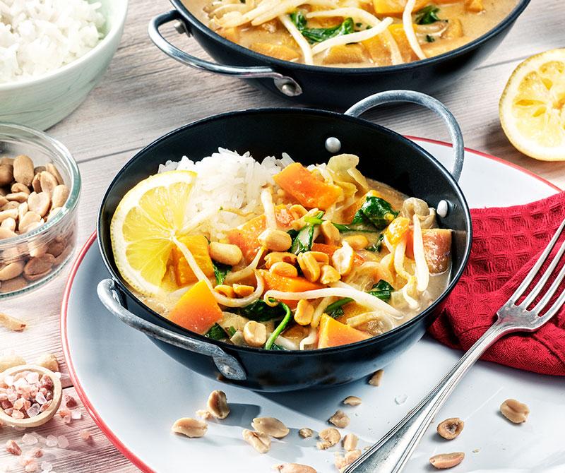Jesienne curry zdyni ikiełków fasoli Mung