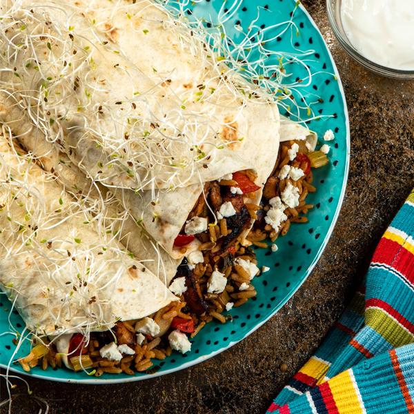 Burrito zryżem igrillowanym indykiem