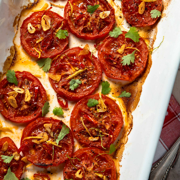 Grillowane pomidory zimbirem, chili iczosnkiem